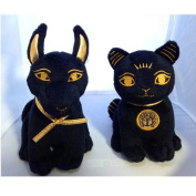 Bundle Deal. Egyptian Plush Black and Gold Bastet Cat & Anubis Stuffed Animal. So Cute!