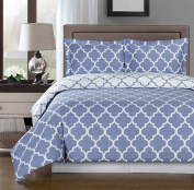 Periwinkle and White Meridian Twin / Twin XL 2-piece Duvet-Cover-Set, 100 % Egyptian Cotton 300 TC