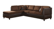 Homelegance 9909CH Comfort Living Sectional Collection with 2 Pillows, Chocolate Rhino Microfiber and Dark Brown Faux Leather