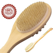 Bath Brush with Natural Bristles for Dry Brushing, Cellulite Massage, Detox, Exfoliating, Back Scrub and Shower. 43cm Long Wooden Handle