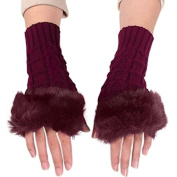 JOVANA New Women Ladies Winter Warm Knitted Faux Rabbit Fur Fingerless Gloves Mitten