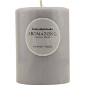 LAVENDER & VANILLA ESSENTIAL BLEND by Lavender & Vanilla Essential Blend ONE 7.6cm x 10cm PILLAR ESSENTIAL BLENDS CANDLE. BURNS APPROX. 90 HRS.