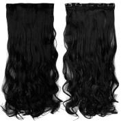 70cm Curly One Piece Clip in Hair Extensions (5 Clips) Jet Black Clip Ins Hairpiece for Women Lady Girl