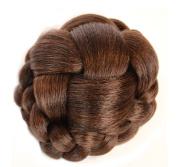 Dark Brown Clip on Hair Bun | Criss Cross Lattice Effect | Natural Blended Copper Highlights