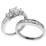 Lanyjewelry Three Stone 6mm Princess CZ Stainless Steel Wedding Ring Set