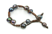 Peacock Pearl Bracelet Black Large Freshwater Cultured Pearls Brown Leather Braided Strands