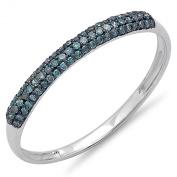 0.20 Carat (ctw) 14k White Gold Round Blue Diamond Bridal Anniversary Wedding Band Stackable Ring 1/5 CT