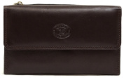 Ladies / Womens Leather Slim Wallet with Magnetic Popper Opening
