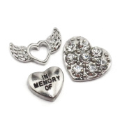Set Of 3 IN MEMORY OF Angel Wings Heart Floating Charms For Living Memory Glass Lockets Pendant Necklace Gift