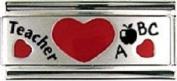 Teacher with hearts superlink 9mm Italian charm - fits Nomination bracelets