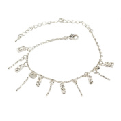 Mytoptrendz Rhodium Plated Crystal And Chain Anklet Bracelet