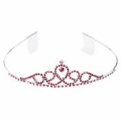 Bride Bridesmaid Flower Girl's Tiara Headband Crown with Comb RED Rhinestone