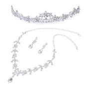 Bridal Wedding Jewellery Set Tiara Necklace Earrings Rhinestone