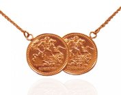 Half Sovereign St.George Coin Necklace. Rose Gold.