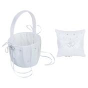 Wedding Ring Pillow Cushion Flower Girl Basket White