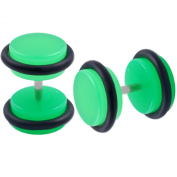 Jewellery 2pcs of Top Quality Fake Acrylic Green Stretcher Plugs Cheater 8mm Earrings Black O-rings LAEN