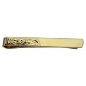 Hard Gold plated 6x55mm half Hand engraved Tie Slide