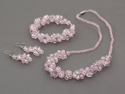 TreasureBay Stunning Pink Crystal Beaded Matching Necklace, Bracelet and Earrings Set - Presented in a Beautiful jewellery gift Box