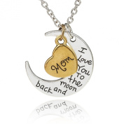 "ISHOW Two Tone ""I Love You To The Moon and Back"" Two-Piece Pendant Necklace Family Love Heart Mom"