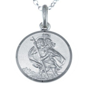 """Reversible Sterling Silver St Christopher Pendant with 18"""" Chain & Gift Box - 16mm"""