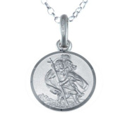 """Children's Small Reversible Sterling Silver St Christopher Pendant with 16"""" Chain & Gift Box - 12mm"""