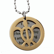 """Double Round Tag Sea Turtle and Inspirational Message Pendant, Necklace, """"I Am in Charge...."""""""