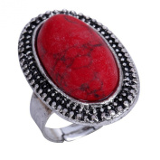Yazilind Jewellery Carved Red Rimous Oval Turquoise Tibetan Silver Striking Adjustable Ring