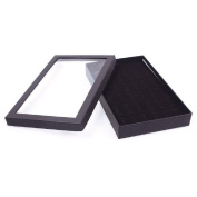 TR.OD Black 36 Slots Finger Ring Studs Jewellery Display Showing Container Box with Clear Cover