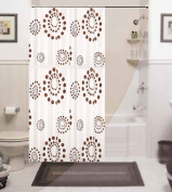 Beautiful extra long and wide fabric shower curtain, rings included with weighted hem