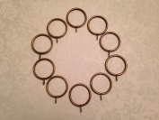 (CR 5) Wrought Iron Curtain Rings in Antique Brass 55mm OD 45mm ID.