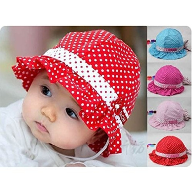 HuntGold 1X Comfortable 3-24 Months Baby Toddler Girls Sun Polka Dot Cotton Hat Cap(pink)