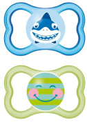 MAM Air Latex 217111 Dummies 16+ Pack of 2 for Boys Assorted Colours