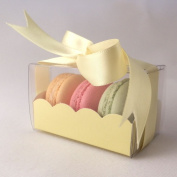 Yellow macaroon boxes with clear sleeve - small