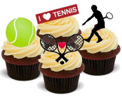 NOVELTY NEW TENNIS FEMALE MIX Design - Birthday / Sport / Special Occasion Standups 12 Edible Standup Premium Wafer Cake Toppers