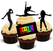 NOVELTY DANCE MIX - Birthday / Special Occasion Standups 12 Edible Standup Premium Wafer Cake Toppers