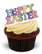 NOVELTY HAPPY EASTER Patchwork design - Standups 12 Edible Standup Premium Wafer Cake Toppers
