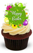 NOVELTY BEAUTIFUL HAPPY EASTER FLORAL DESIGN - Standups 12 Edible Standup Premium Wafer Cake Toppers