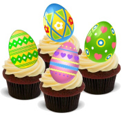 NOVELTY BRIGHT EASTER EGG MIX - Standups 12 Edible Standup Premium Wafer Cake Toppers