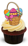 NOVELTY EASTER BASKET with bright easter eggs - Standups 12 Edible Standup Premium Wafer Cake Toppers