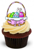 NOVELTY EASTER BASKET with pink bow and eggs - Standups 12 Edible Standup Premium Wafer Cake Toppers