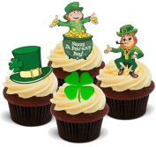 NOVELTY HAPPY ST PATRICKS DAY MIX (SET A) - Standups 12 Edible Standup Premium Wafer Cake Toppers