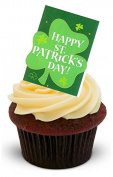 NOVELTY HAPPY ST PATRICKS DAY SHAMROCK CARD - Standups 12 Edible Standup Premium Wafer Cake Toppers