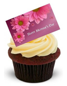 NOVELTY HAPPY MOTHERS DAY with pink flowers card - Standups 12 Edible Standup Premium Wafer Cake Toppers
