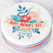 Mother's Day Cake Topper - Happy Motrher's Day Flowers - 19cm Round - Edible Icing or Wafe