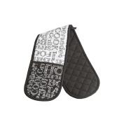 Soho Double Oven Glove Black & White