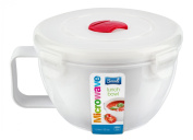 BPA Free Plastic 1lt Round Microwave Pot Tub Container Lunch Box with Vented Lid