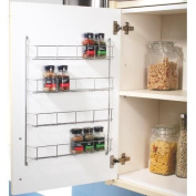 HIGH QUALITY CHROME 4 TIER SPICE RACK BACK OF DOOR SPICE JAR PACKET HOLDER STORAGE KITCHEN