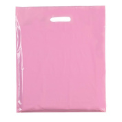"100x PINK 15""X18""+3(39x45cm) HEAVY DUTY coloured PLASTIC CARRIER BAGS PARTY GIFT BAGS IN 3 SIZES"