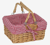 Mini Rectangular Swing Handle Shopper Basket With Red/White Cheque
