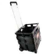 35kg Multi Purpose Heavy Duty Folding Trolley Wheeled Shopping Storage Crate Box Shopmonk